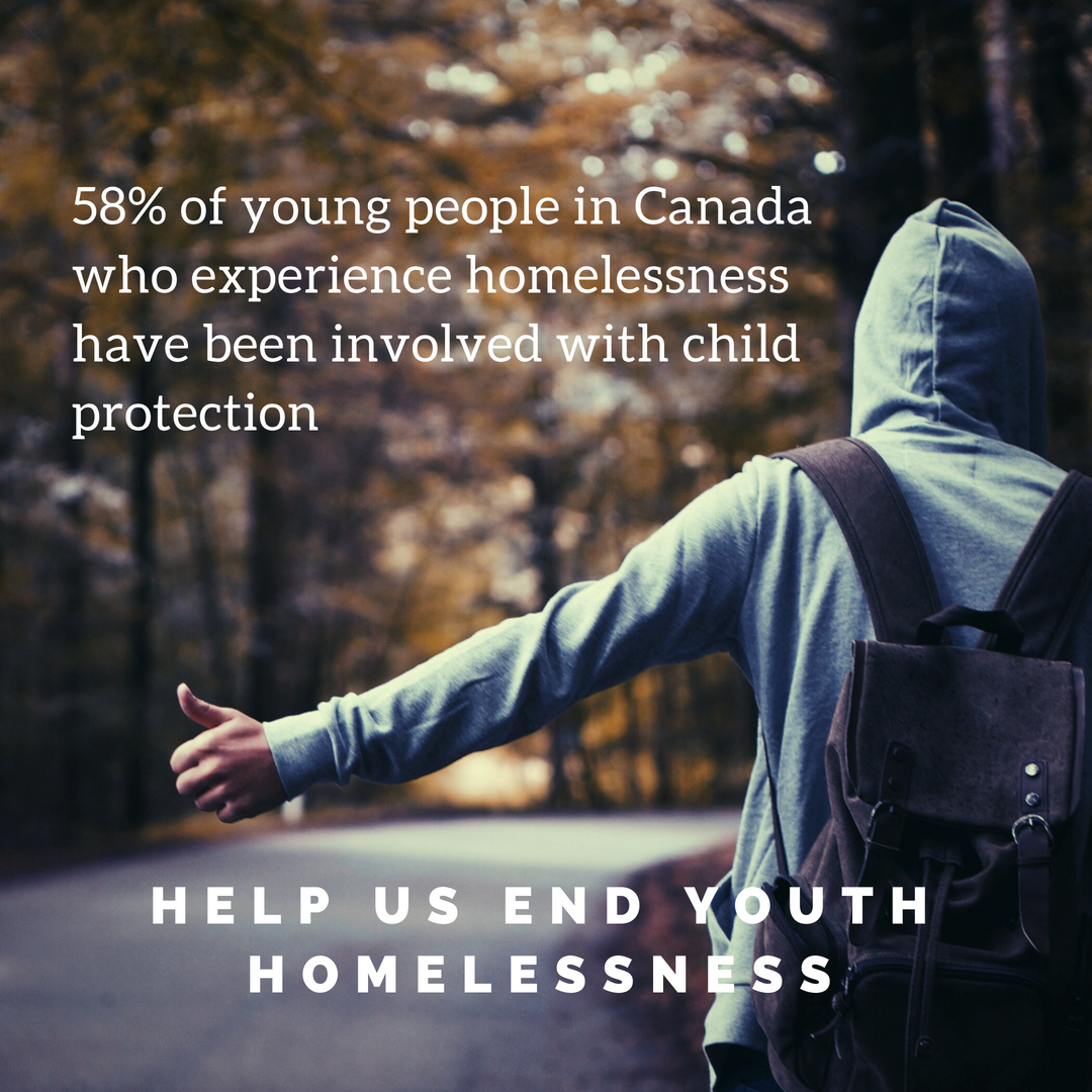 "A photo of a young man with his back to the camera, trying to hitchhike. Text is overlaid on the photo, which reads: ""58% of young people in Canada who experience homelessness have been involved with child protection. Help us end youth homelessness"""