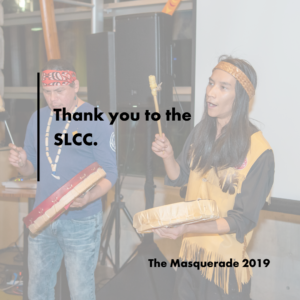 Two Indigenous Canadian men are hand drumming and singing. Text reads: Thank you to the SLCC.