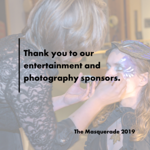 a woman paints purple and silver flowers on another woman's face. text reads: thank you to our entertainment and photography sponsors.