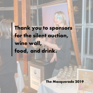 a woman serves another woman a glass of locally made kombucha. text reads: thank you to sponsors for the silent auction, wine wall, food, and drink.