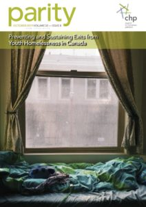 """cover of Parity Magazine Volume 32, Issue 8, titled: """"Preventing and Sustaining Exits from Youth Homelessness in Canada""""."""