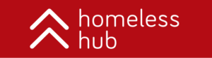 homeless hub logo on a red background