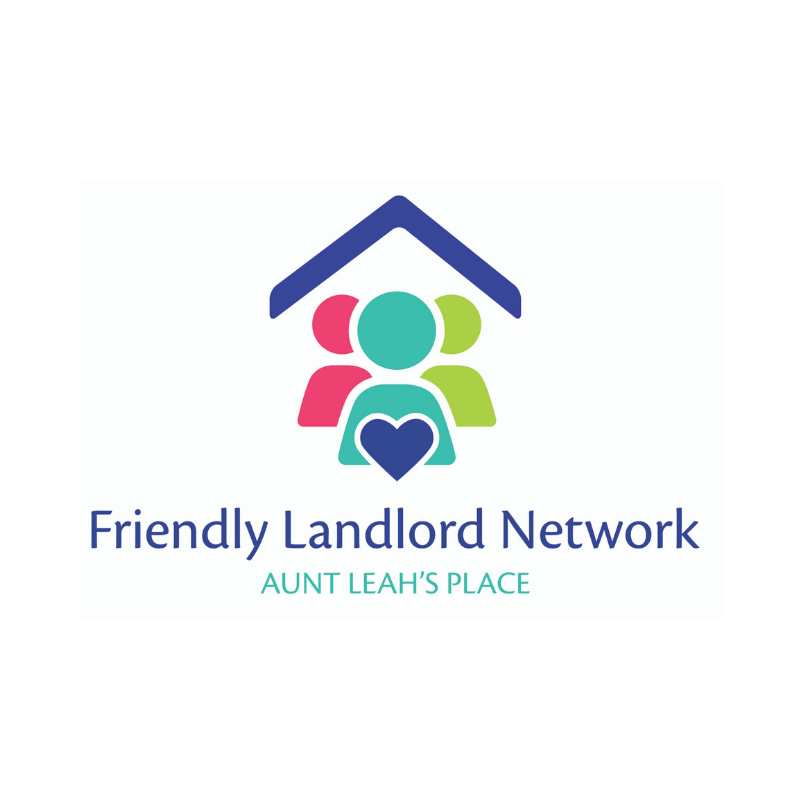 "A logo depiciting a simple image of three people under a roof. The text reads ""Friendly Landlord Network: Aunt Leahs Place"""