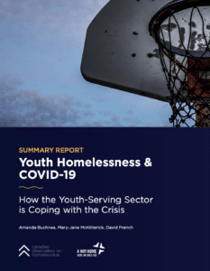 title page of Summary Report: Youth Homelessness & COVID-19: how the youth-serving sector is coping with the crisis by A. Buchnea, D. French, and M-J McKitterick
