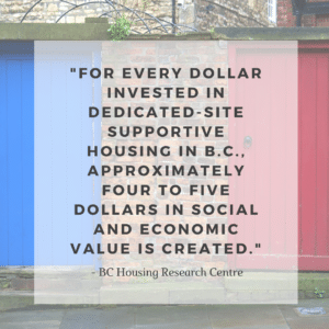 a block of text covers an image of a red door, a blue door, and a brick wall.