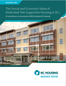 """cover image of """"The Social and Economic Dedicated-Site Supportive Housing in BC: A Social Return on Investment (SROI) Analysis"""" report"""