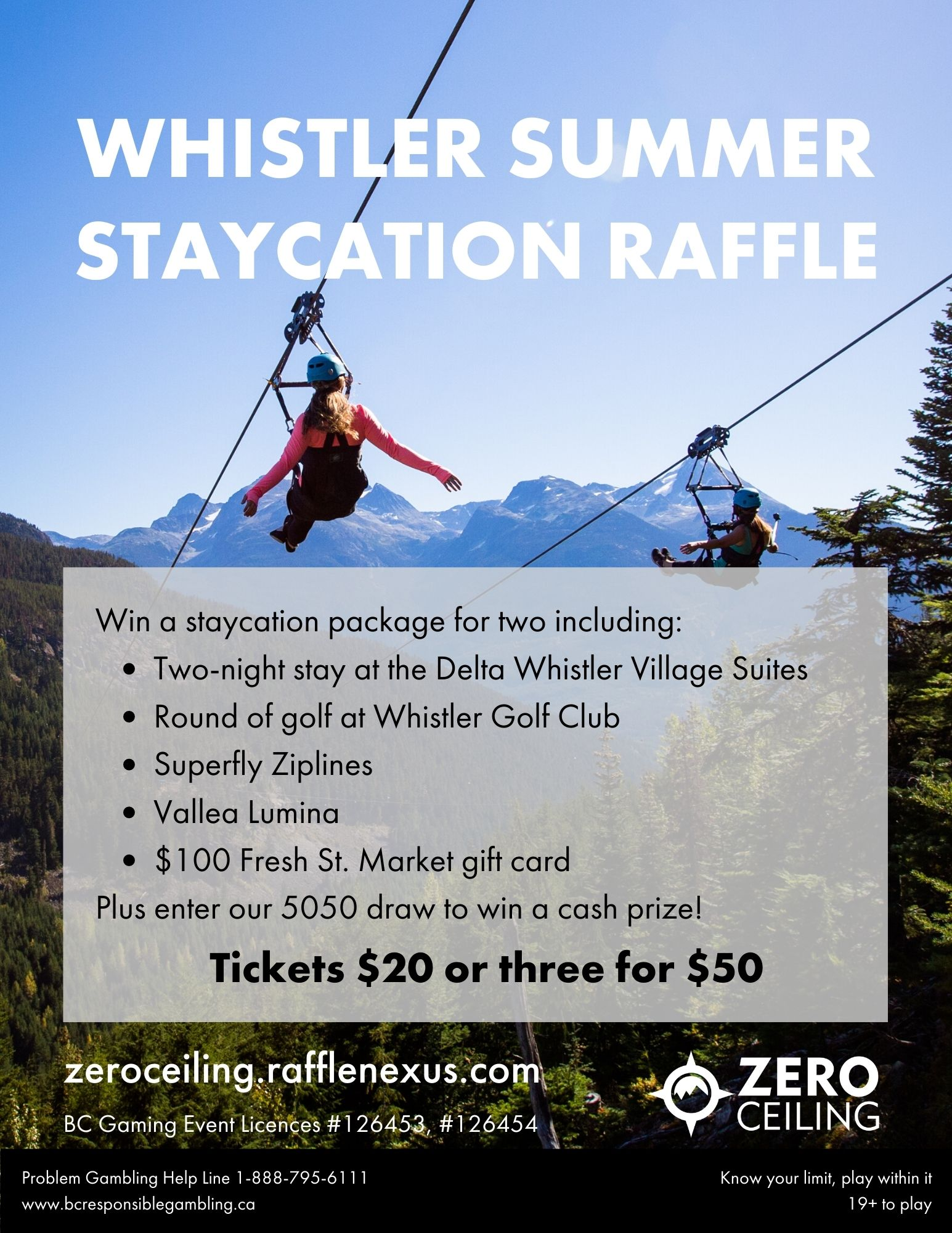 This is the poster for our raffle promotion. it shows two people having a lot of fun in Whistler, which you can too if you enter to win a stay in Whistler!
