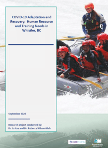 """The front cover of a research paper entitled """"COVID-19 Adaptation and Recovery: Human Resource and Training Needs in Whistler, BC"""""""